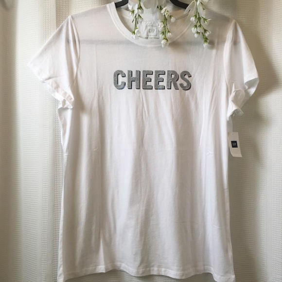 71e327291 GAP Tops | Sparkle Cheers Graphic Tee Large | Poshmark